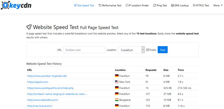 KeyCDN Speed Test