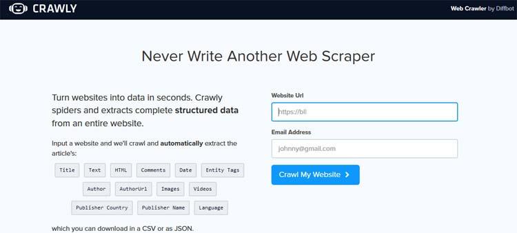 Web Crawler by Diffbot